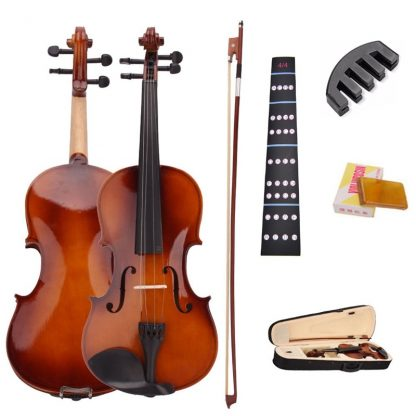4 4 Full Size Natural Acoustic Violin Fiddle With Case Bow Rosin Mute Stickers Solid wood 1