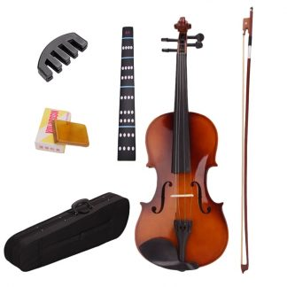 4 4 Full Size Natural Acoustic Violin Fiddle With Case Bow Rosin Mute Stickers Solid wood