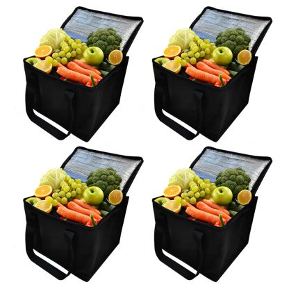 4Pack Reusable Insulated Lunch Bag Collapsible Food insulation bag Food Delivery Great for Grocery Shopping Black