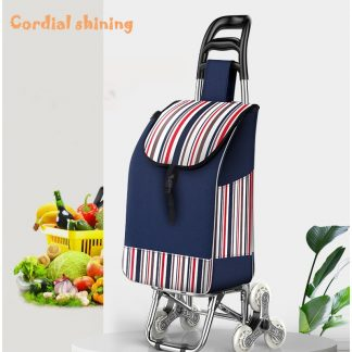 Cordial Shining Portable Shopping Trolley Shopping Bag With Wheels Folding Bearing Sturdy Climbable Grocery Navy Blue