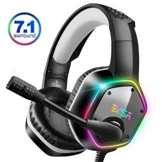 EKSA 7 1 Virtual Surround Gaming Headset Colorful LED Light Gamer Headphones E1000 With Super Bass