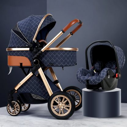 Luxury Baby Stroller 3 in 1 High landscape Baby Cart Can Sit Can Lie Baby Pushchair 1