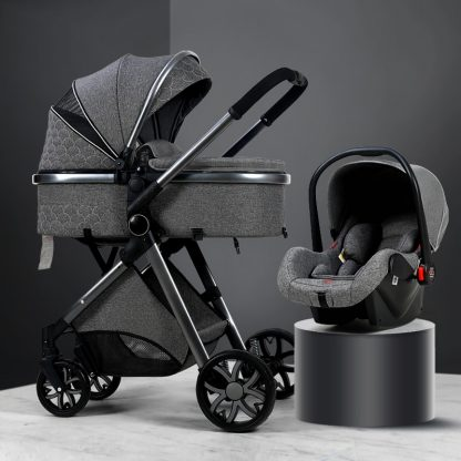 Luxury Baby Stroller 3 in 1 High landscape Baby Cart Can Sit Can Lie Baby Pushchair 2