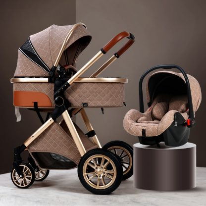 Luxury Baby Stroller 3 in 1 High landscape Baby Cart Can Sit Can Lie Baby Pushchair 3