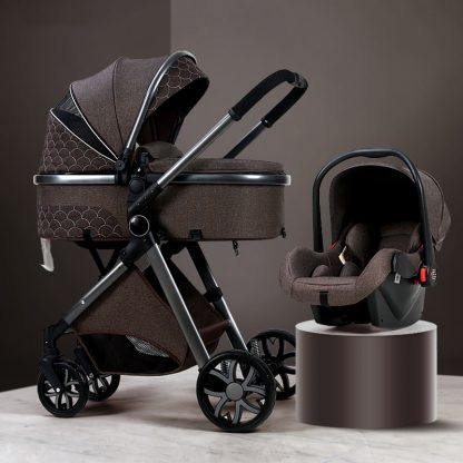 Luxury Baby Stroller 3 in 1 High landscape Baby Cart Can Sit Can Lie Baby Pushchair 4