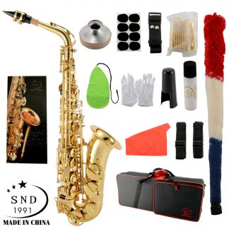 SND Eb Alto Saxophone Brass Lacquered Gold E Flat Sax 802 Key Type Woodwind Instrument with