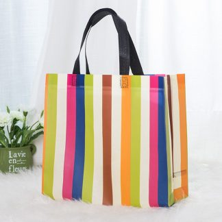 Striped Non woven Fabric Reusable Shopping Bags 2020 Large Foldable Tote Grocery Bag Travel Eco Friendly