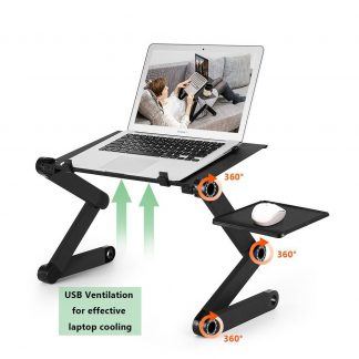 Two Fan Laptop Desks Portable Adjustable Foldable Laptop Notebook Lap PC Folding Desk Table Vented Stand