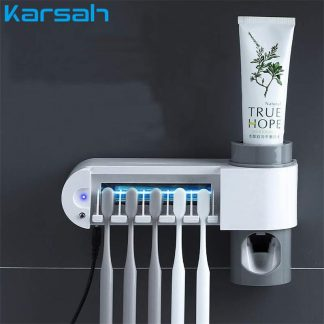 Ultraviolet Toothbrush Sterilizer Household 2 in 1 UV Toothbrush Disinfection Stand Toothpaste Squeezers Dispenser Home Bathroom